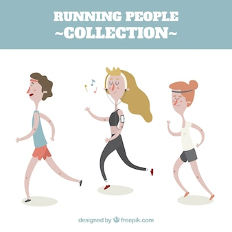 Collection flat running people