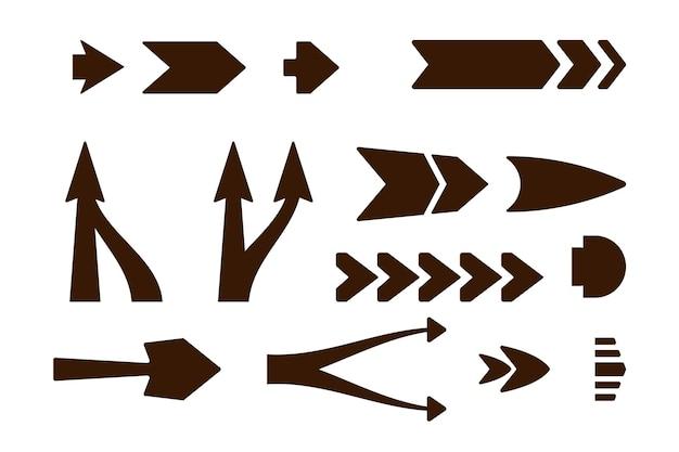 Collection de flèche droite design plat