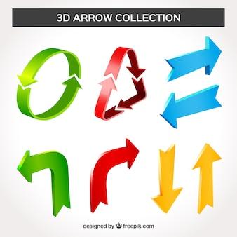 Collection de flèches 3d avec style moderne