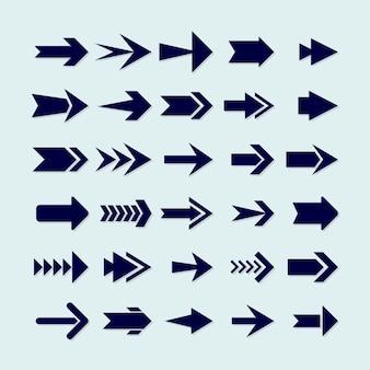 Collection de flèches bleues design plat