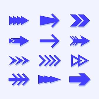 Collection de flèches bleues plates