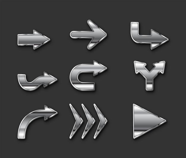 Collection de flèches de conception métallique vecteur gratuit