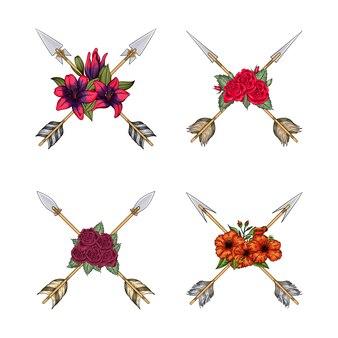Collection de flèches croisées d'indiens avec des fleurs de style boho