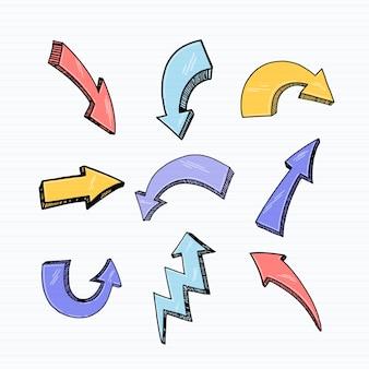 Collection de flèches dessinées à la main réaliste