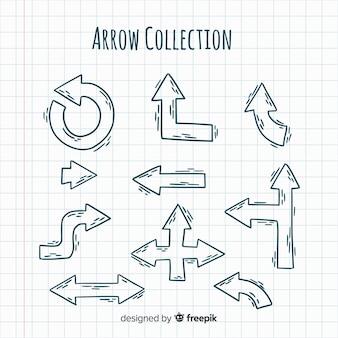 Collection de flèches dessinées à la main