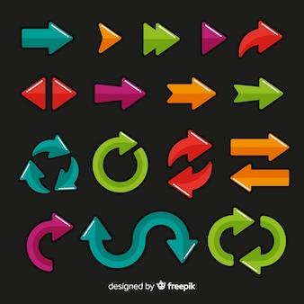 Collection de flèches de différentes couleurs