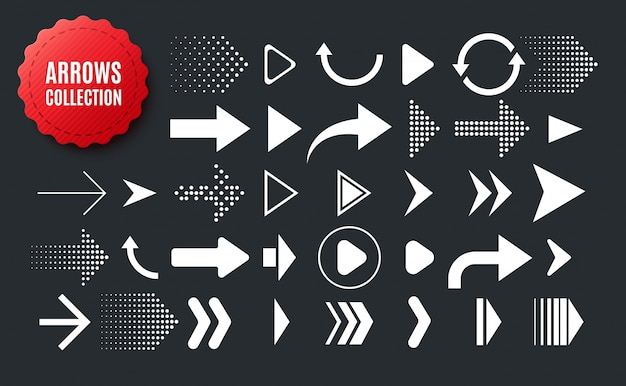 Collection de flèches de forme différente. ensemble d'icônes de flèches isolés sur fond noir