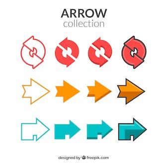 Collection de flèches modernes dans le design plat