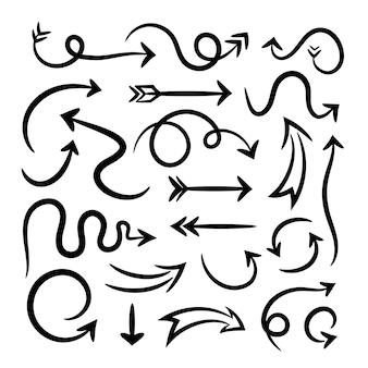 Collection de flèches de style dessiné à la main