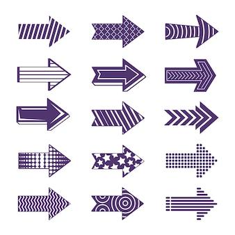 Collection de flèches violettes design plat