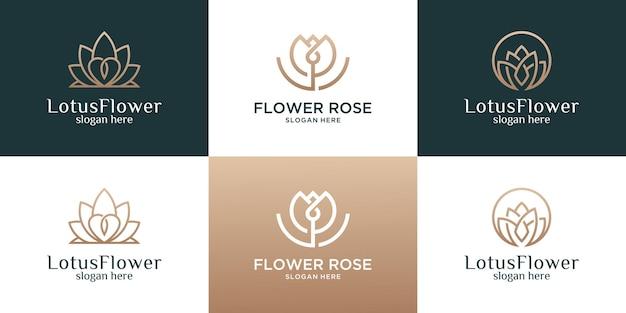 Collection de fleur avec modèle de conception de logo de ligne.