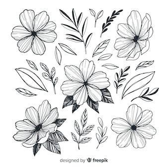 Collection de fleurs artistiques dessinées à la main