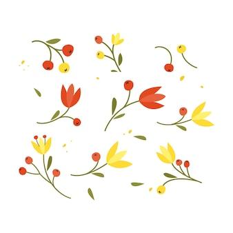 Collection de fleurs et de branches de croquis dessinés à la main