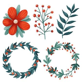 Collection de fleurs et couronnes de noël aquarelle