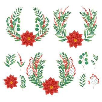 Collection de fleurs et de couronnes de noël aquarelle