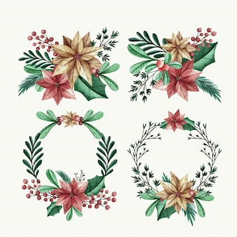 Collection de fleurs et de couronnes de noël aquarelles