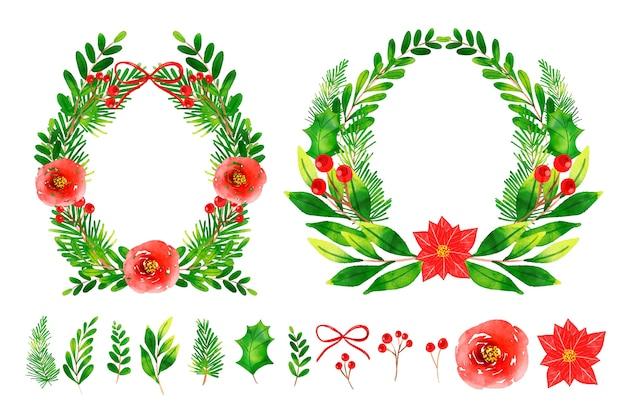 Collection de fleurs et couronnes de noël aquarelles