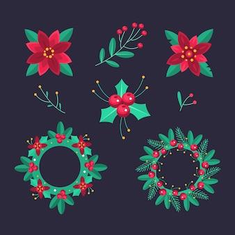 Collection de fleurs et couronnes de noël design plat
