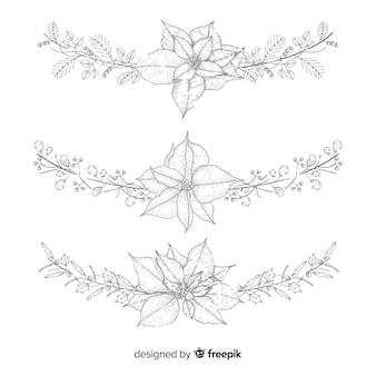 Collection de fleurs et couronnes de noël dessinées à la main