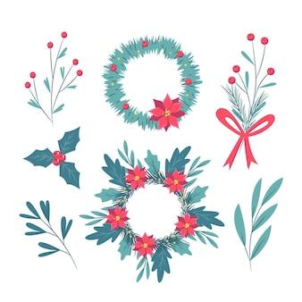 Collection de fleurs et couronnes de noël dessinés à la main