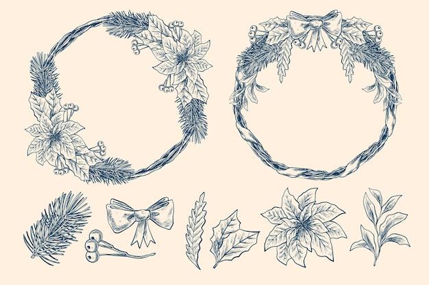 Collection de fleurs et couronnes de noël vintage