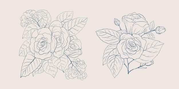 Collection de fleurs dessinées à la main avec une couleur vintage