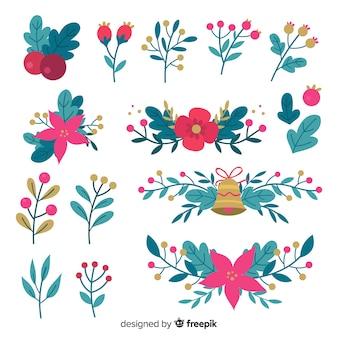 Collection de fleurs dessinées à la main de noël