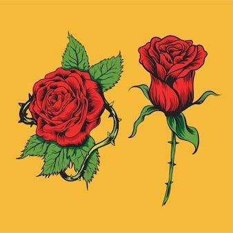 Collection de fleurs dessinées à la main rose