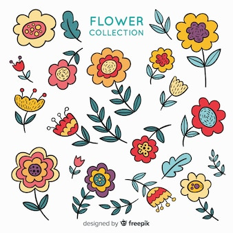 Collection de fleurs dessinées à la main