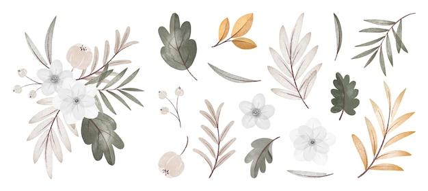 Collection de fleurs et de feuilles d'automne aquarelle avec bouquet