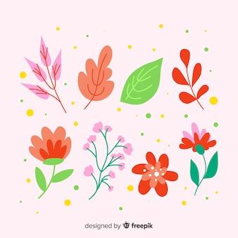 Collection de fleurs et feuilles dessinées à la main abstraite