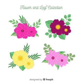 Collection de fleurs et feuilles plates