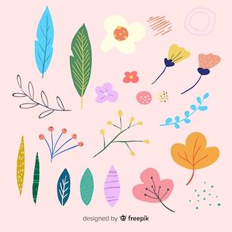 Collection de fleurs et feuilles