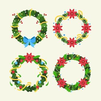 Collection de fleurs et guirlandes de noël au design plat