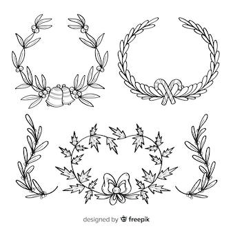 Collection de fleurs et guirlandes de noël dessinés à la main