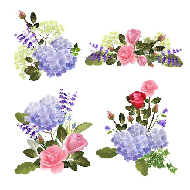 Collection de fleurs. nature à base de plantes beaux bouquets de fleurs rose images de dessin animé