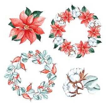 Collection de fleurs de noël aquarelle