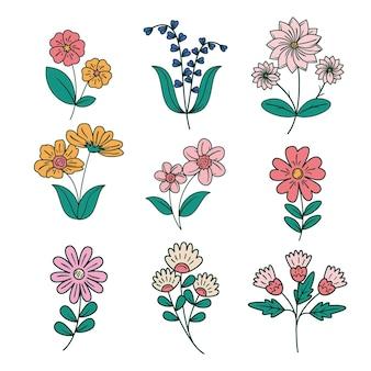 Collection de fleurs printanières dessinées