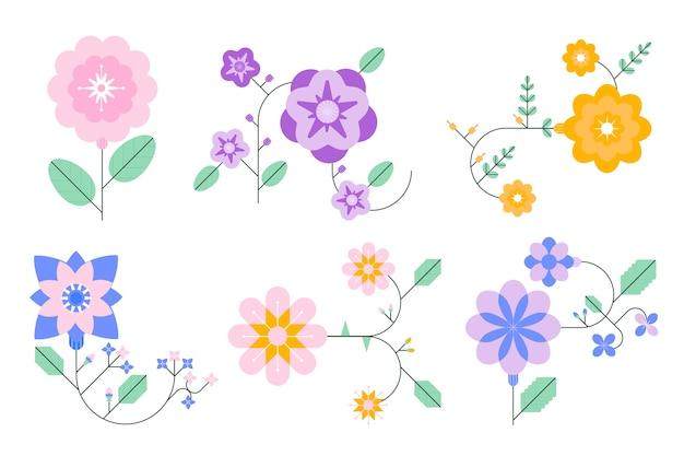 Collection de fleurs de printemps au design plat