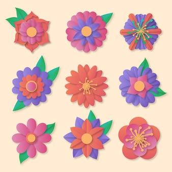 Collection de fleurs de printemps colorées dans un style papier