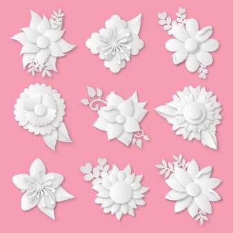 Collection de fleurs de printemps dans un style papier