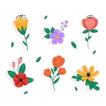 Collection de fleurs de printemps multicolores au design plat