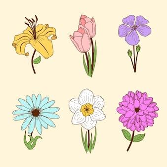 Collection de fleurs de printemps rétro