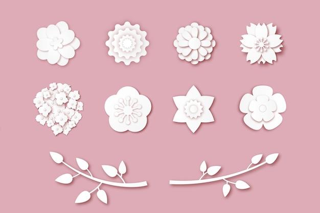 Collection de fleurs de printemps sur le thème du style papier