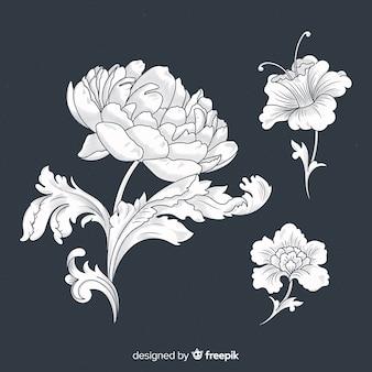 Collection de fleurs vintage baroque