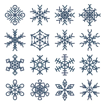 Collection de flocon de neige isolé sur fond blanc, ensemble de vecteur de flocon de neige