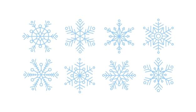 Collection de flocons de neige bleus