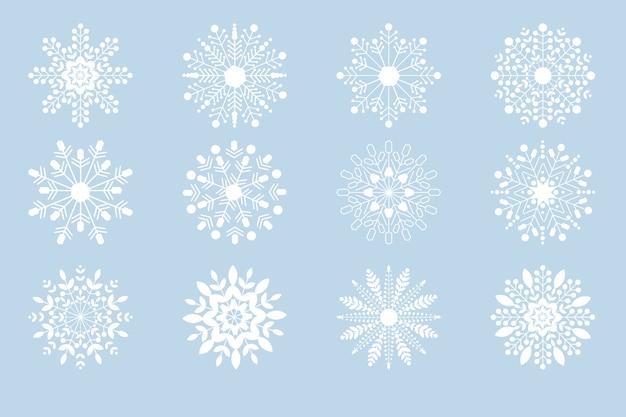 Collection de flocons de neige de noël blanc