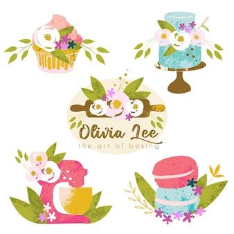 Collection florale dessinée à la main de logo de gâteau de mariage de boulangerie