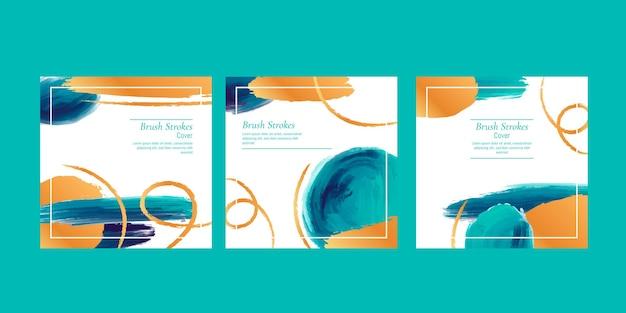 Collection de flyers aquarelle pinceau stokes